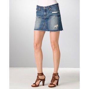 AG The Box Distressed Denim Mini Skirt 29